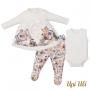 Conjunto de bebê Blusa  C/ Culote e Body  Soft Comfort/Suedine Vânia   O/I