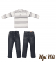 Conj. Longo Jacquard Listrado/Jeans Upiuli