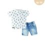 Conj. T-Shirt Meia Malha/Jeans Numbers Baby