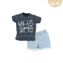 Conj. T-Shirt Meia Malha/Moletinho Jogo da Velha Baby