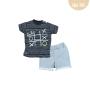 Conj. T-Shirt Meia Malha/Moletinho Jogo da Velha Boy