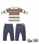 Conj. Longo Cotton Listrado/Moletinho Jeans Upiuli