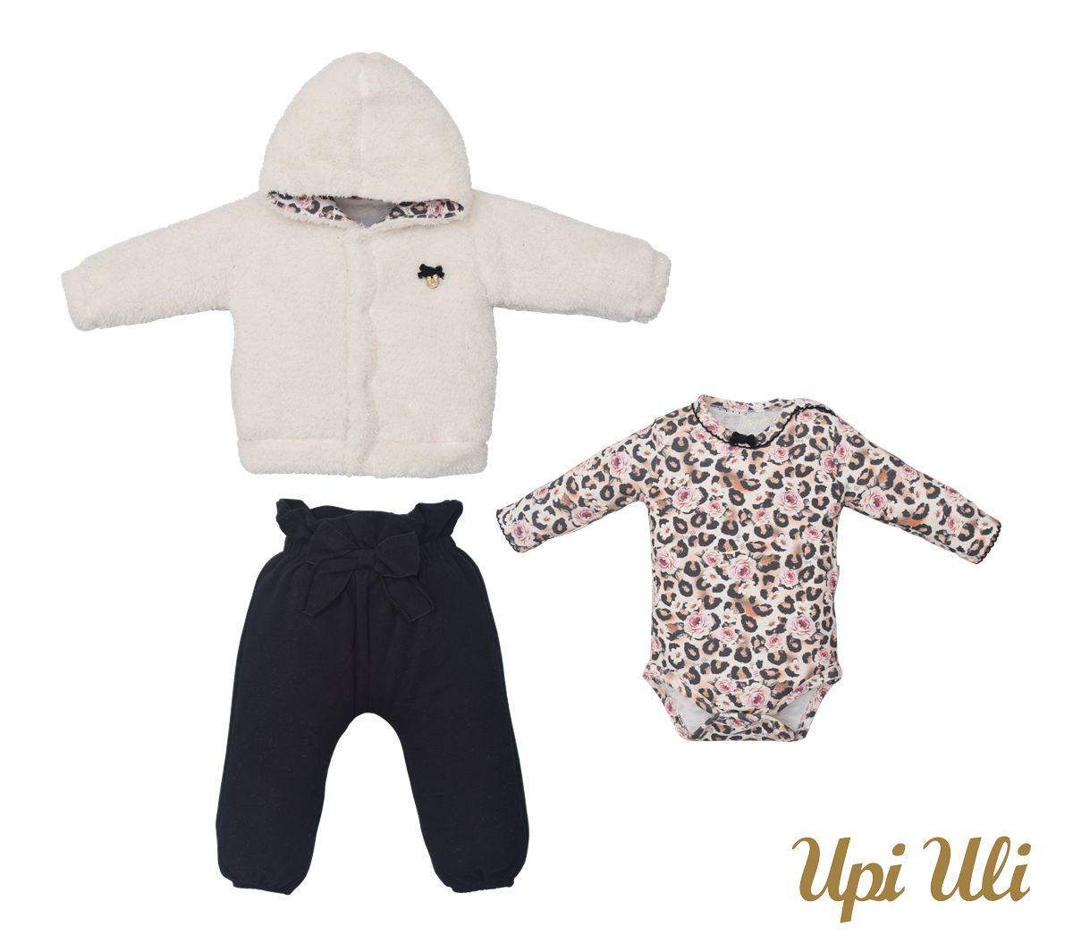 Conjunto de bebê Body C/ Culote  e Casaco Suedine/Pele Islandia Naiara O/I