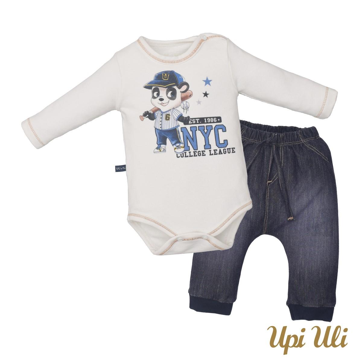 Conjunto de bebê Body C/ Culote Soft Comfort/Jeans Cristiano  O/I