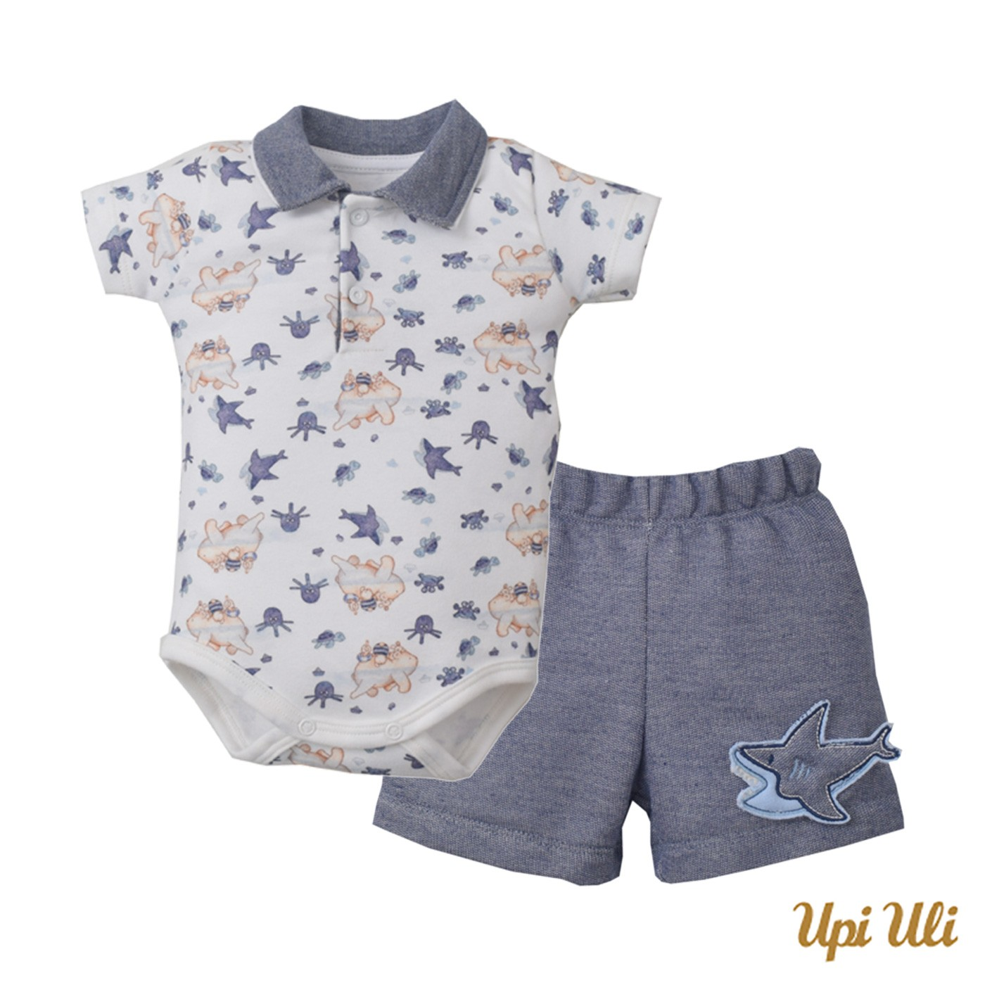 Conj. Body Polo C/ Shorts Suedine/Moletinho Denim Fundo Do Mar (4)