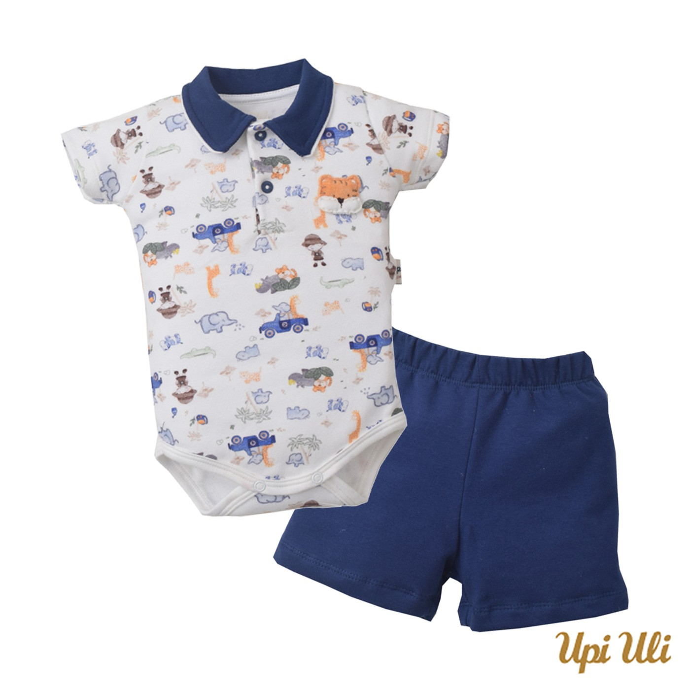 Conj. Body Polo C/ Shorts Suedine/Moletinho Safari (1)