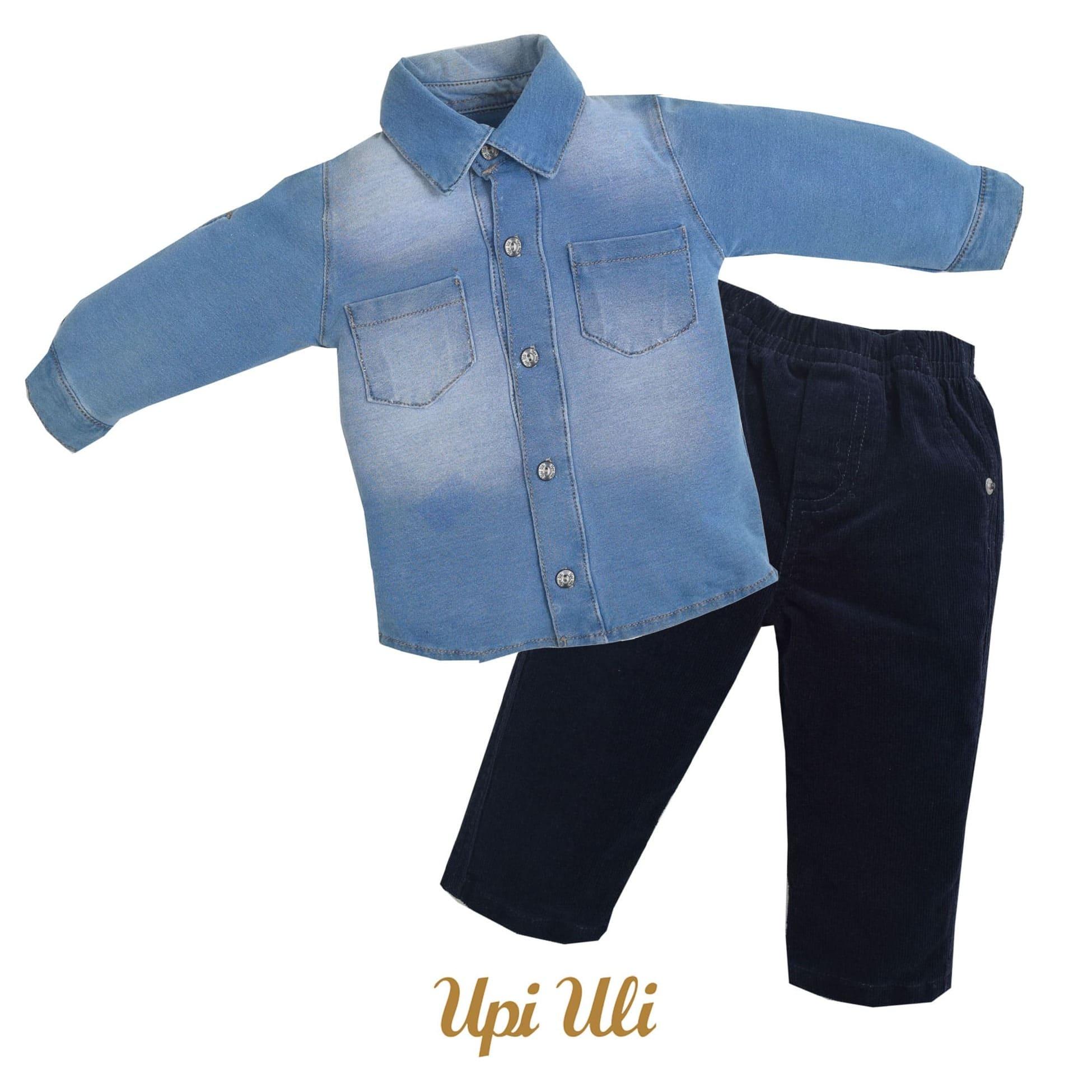 Conjunto Camisa Veludo/Jeans  Boy