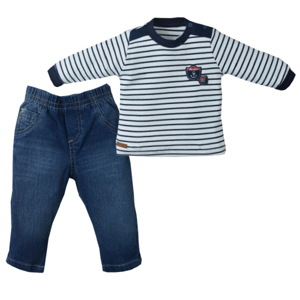 Conj. Longo Jeans/Suedine Bicolor Classic Anchor