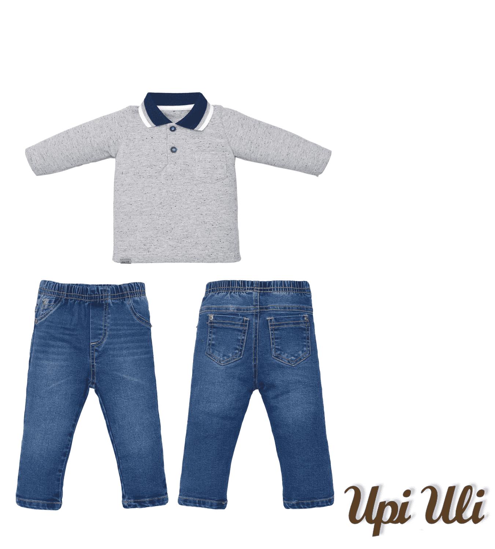Conj. Longo Pique Mescla/Jeans Upiuli