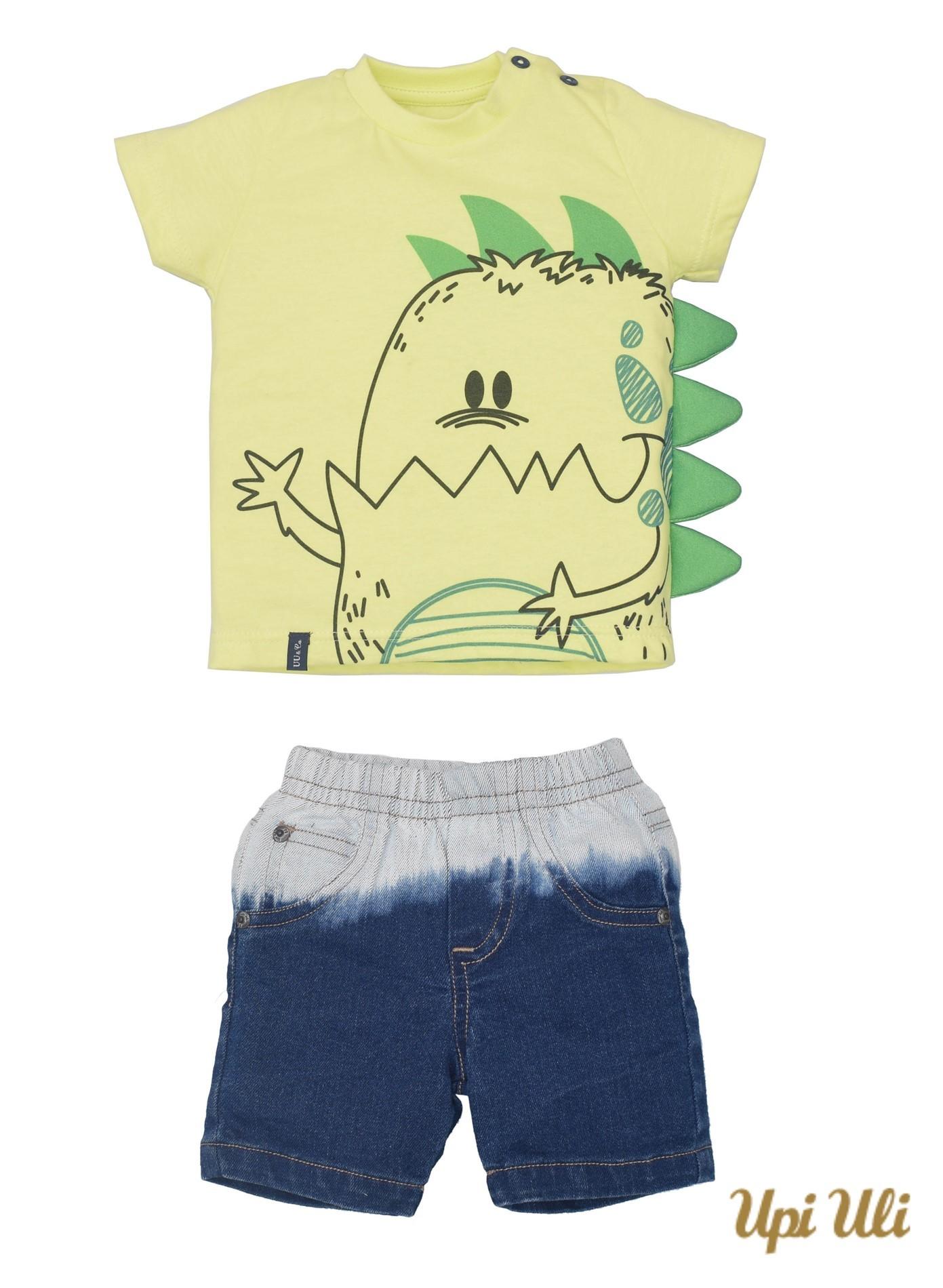 Conj. T-Shirt Meia Malha/Jeans Leonardo