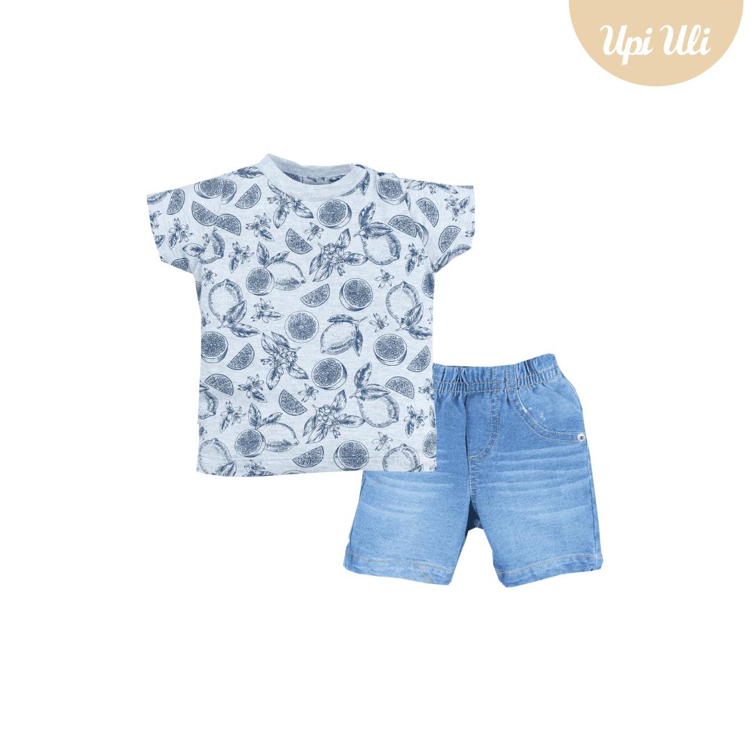 Conj. T-Shirt Meia Malha/Jeans Tropical