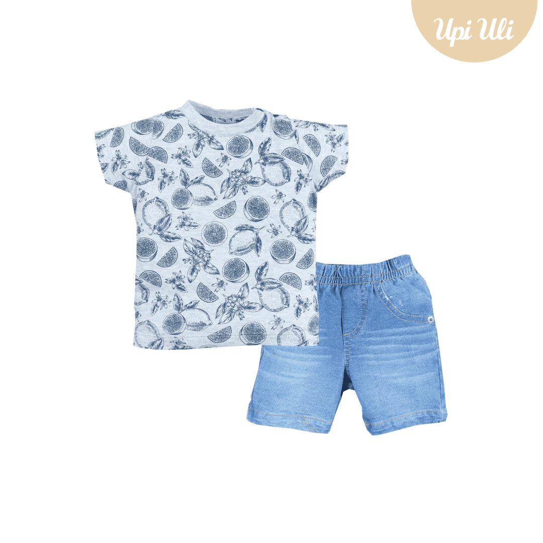 Conj. T-Shirt Meia Malha/Jeans Tropical Baby