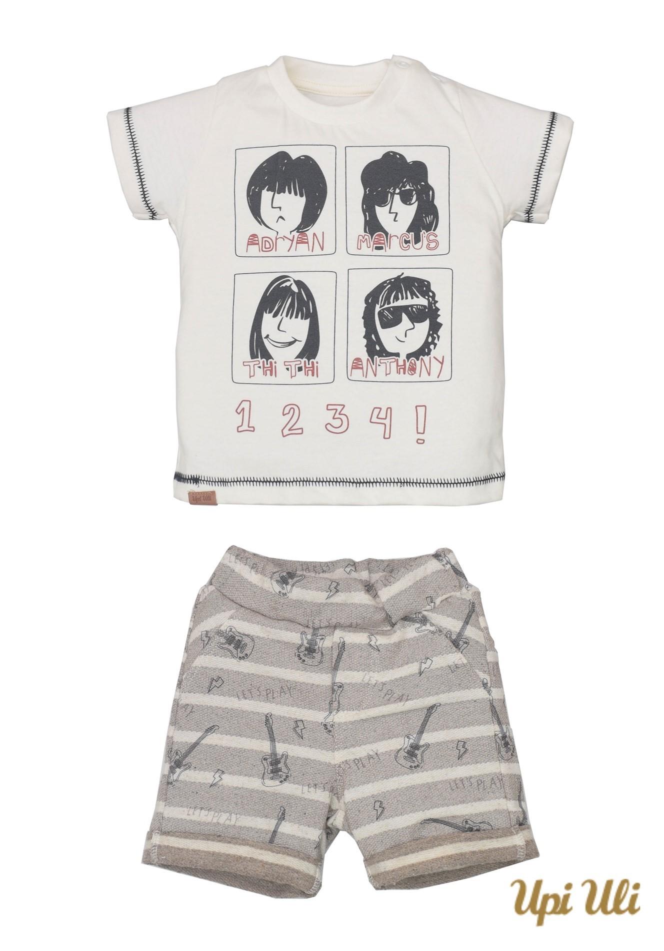 Conj. T-Shirt Meia Malha/Moletinho Bryan