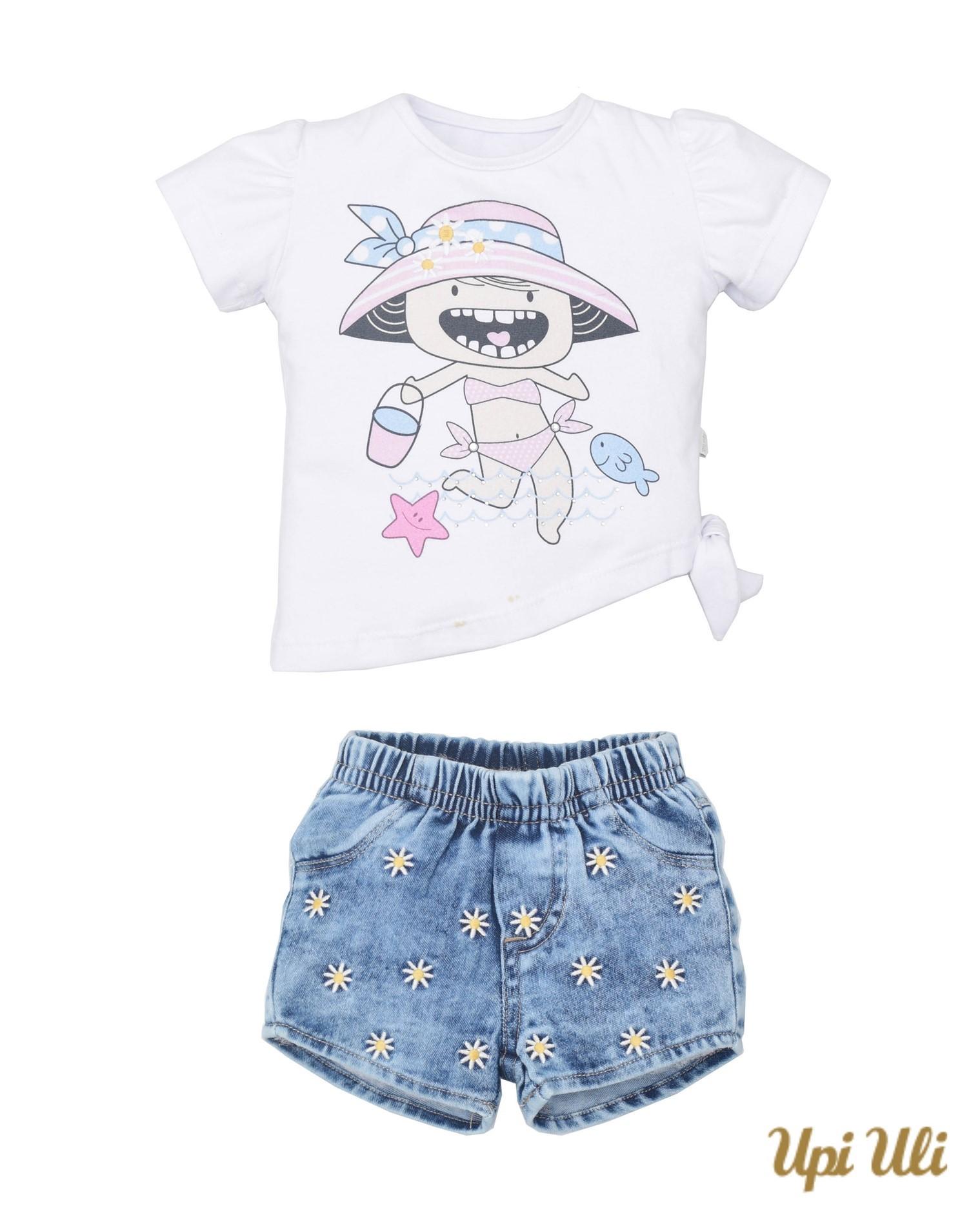 Conjunto  Curto Cotton/Jeans Isabeli