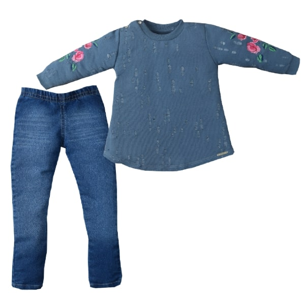Conjunto Longo Moletom/Jeans Flores