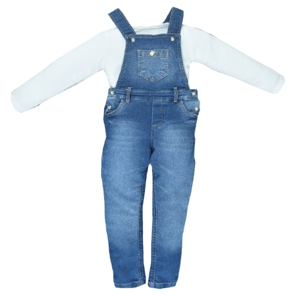 Jardineira Jeans/Malha Peach Velutato Upiuli Girl