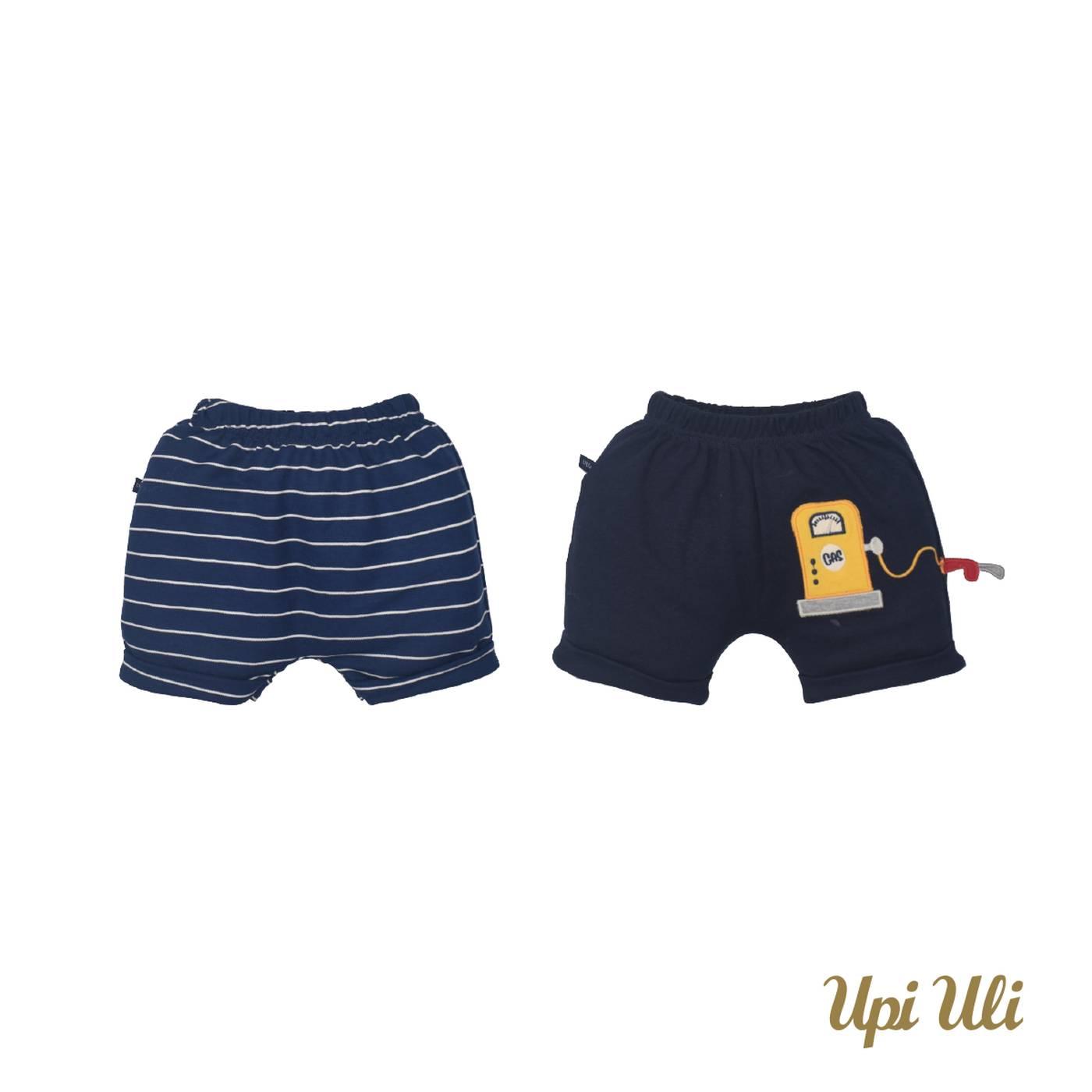 Kit bebê Shorts 2 Peças Suedine /Malha Listrado  Lucas P/V