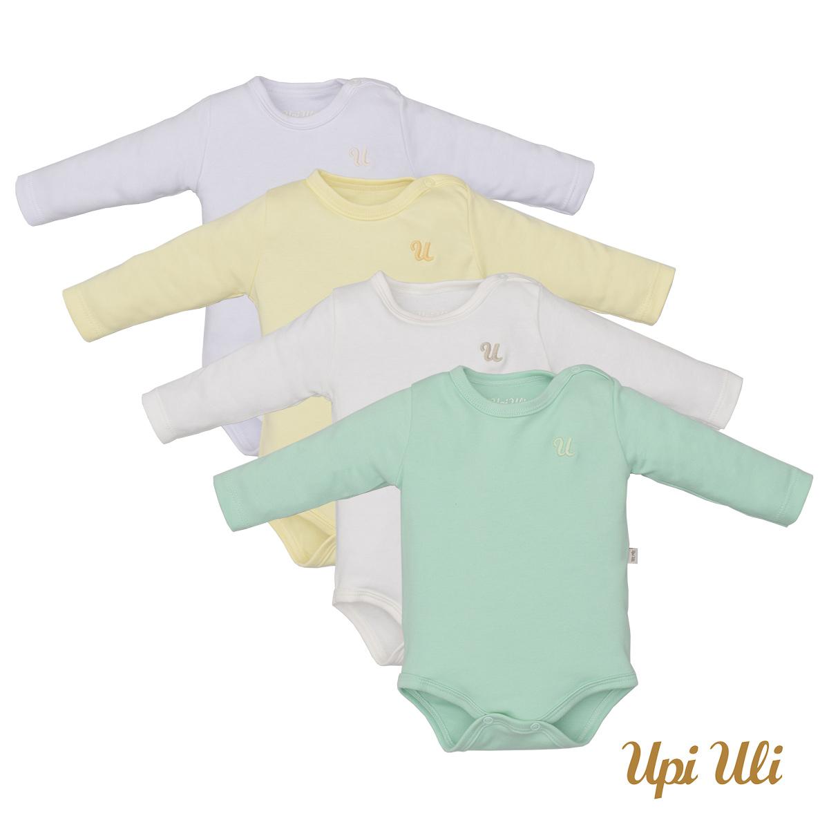 Kit bebê Body Manga Longa 4 Peças Unissex - Marfim, Verde, Amarelo e Branco