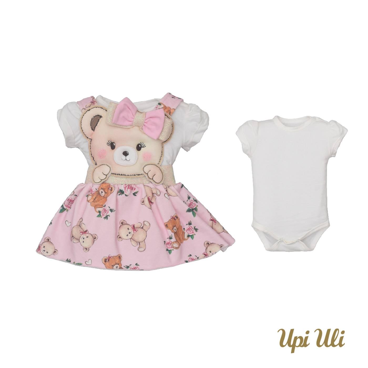 Vestido De Bebê C/Body Cotton/Molecotton Maria Flor
