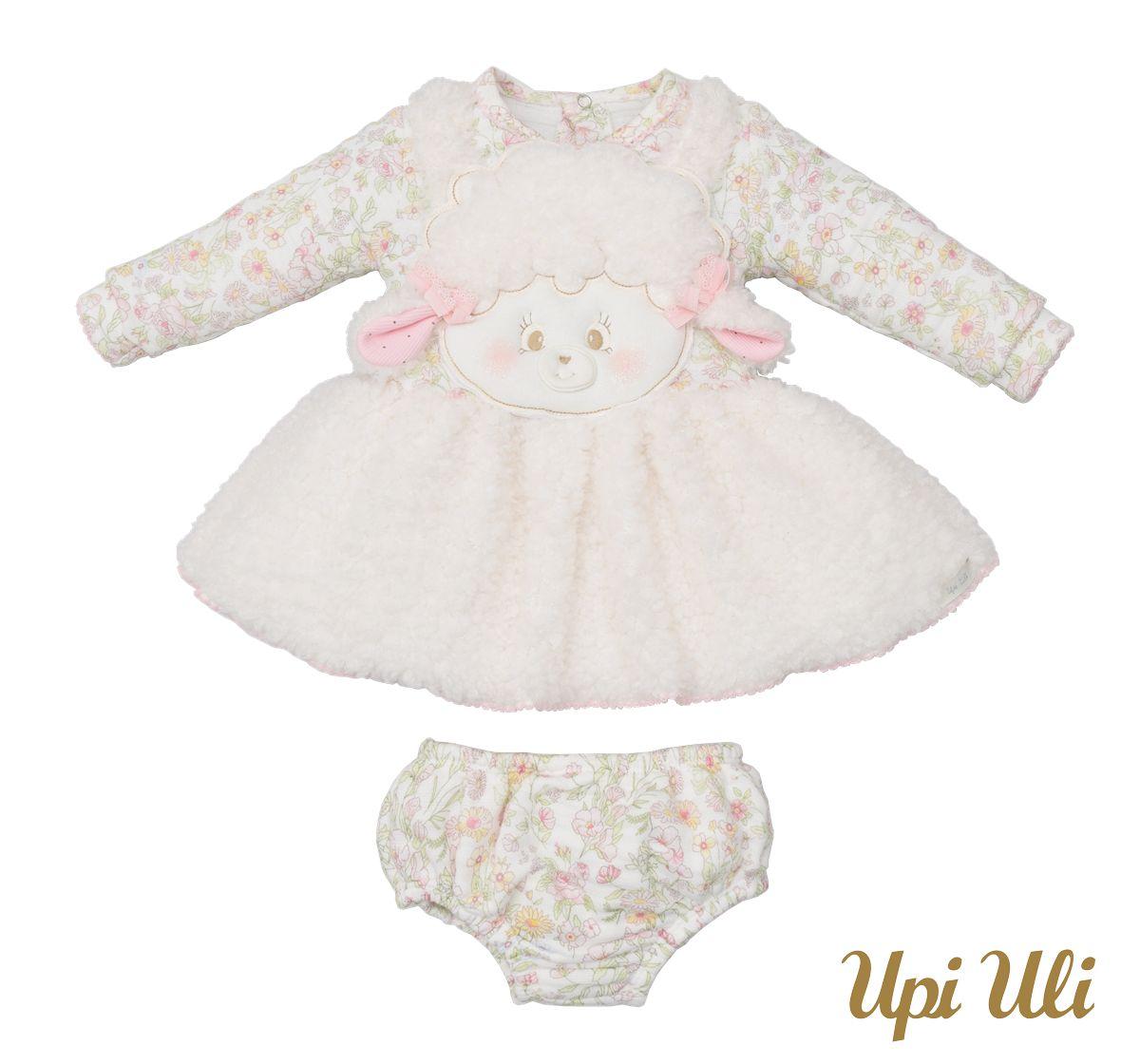 Vestido De Bebê Longo Jacquard/Pele Pecorino Belinha