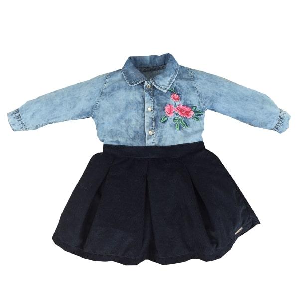 Vestido Longo Jeans/Cotele Flores