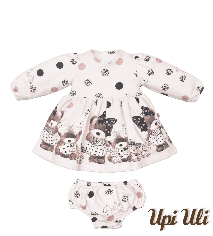 Vestido Soft Comfort Estampado Ursinhas