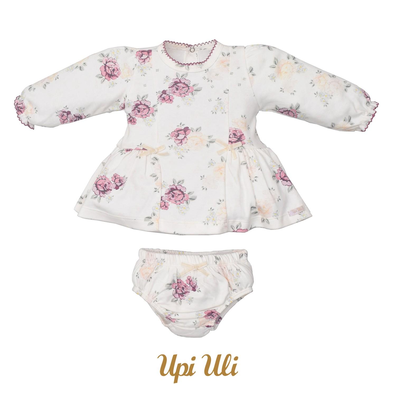 Vestido Suedine Liso/Suedine Estampado Flores