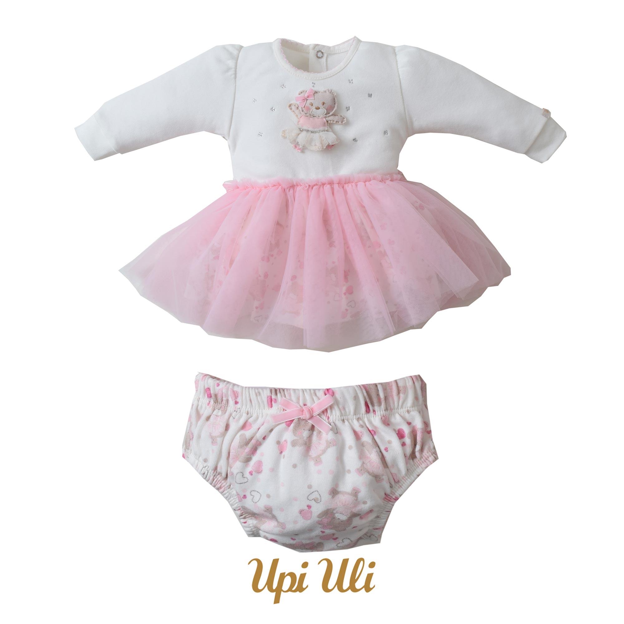 Vestido Suedine Liso/Suedine  Estampado/Tule Bailarina