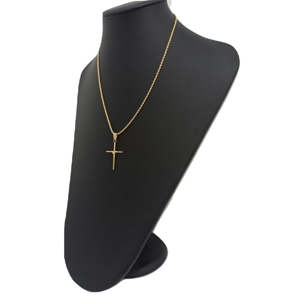Colar Com Crucifixo 45 Cm Banhado a Ouro 18k - Rellicari