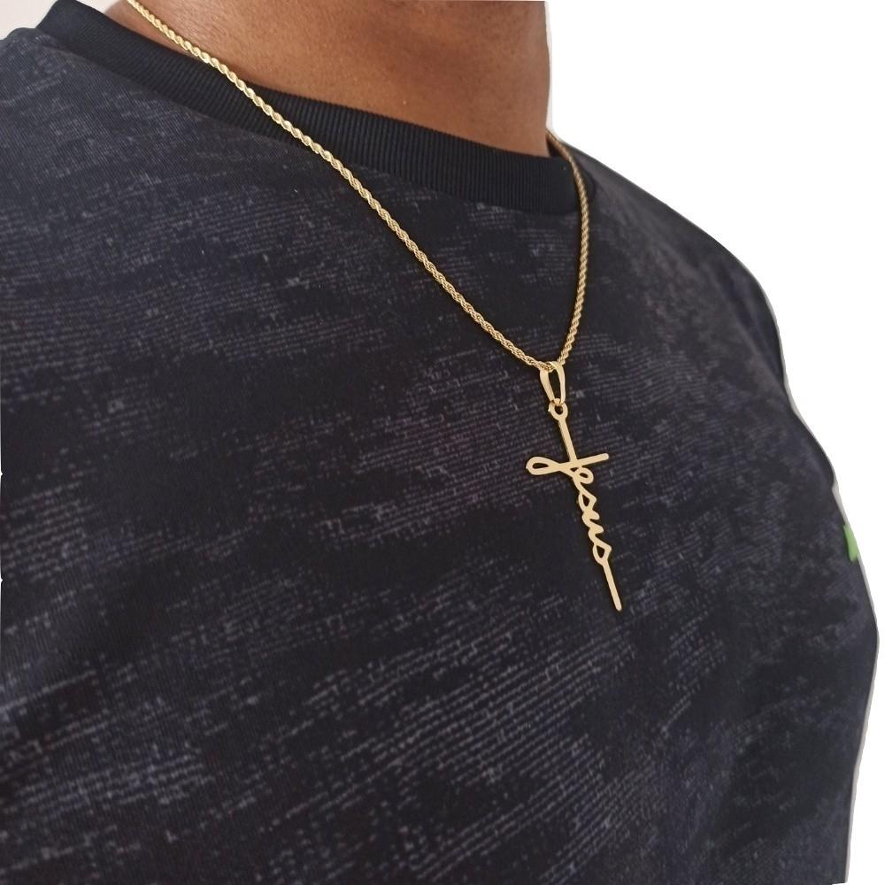 Conjunto Cordão Com Cruz Banhado a Ouro 50 Cm - Rellicari