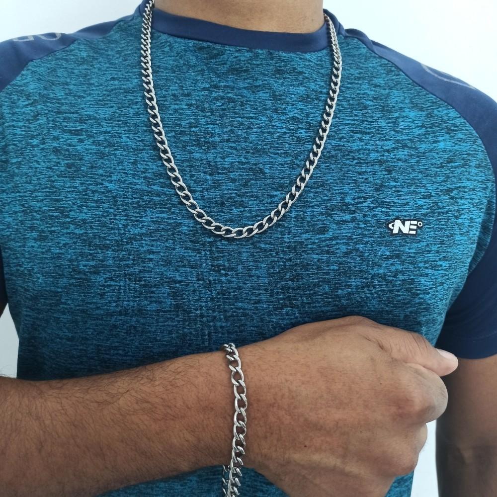Conjunto de corrente e pulseira masculina Aço - Rellicari