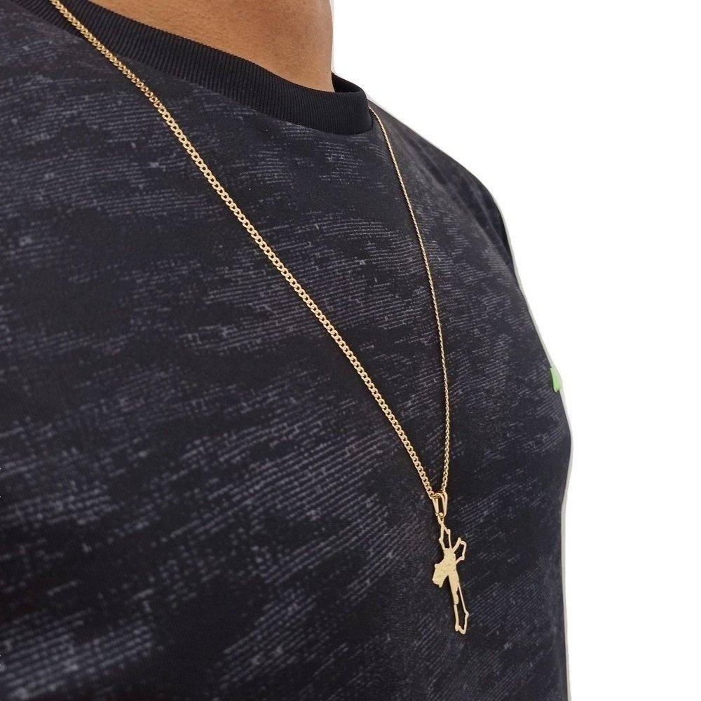 Cordão Banhado a Ouro 18k Com Pingente Crucifixo Rellicari