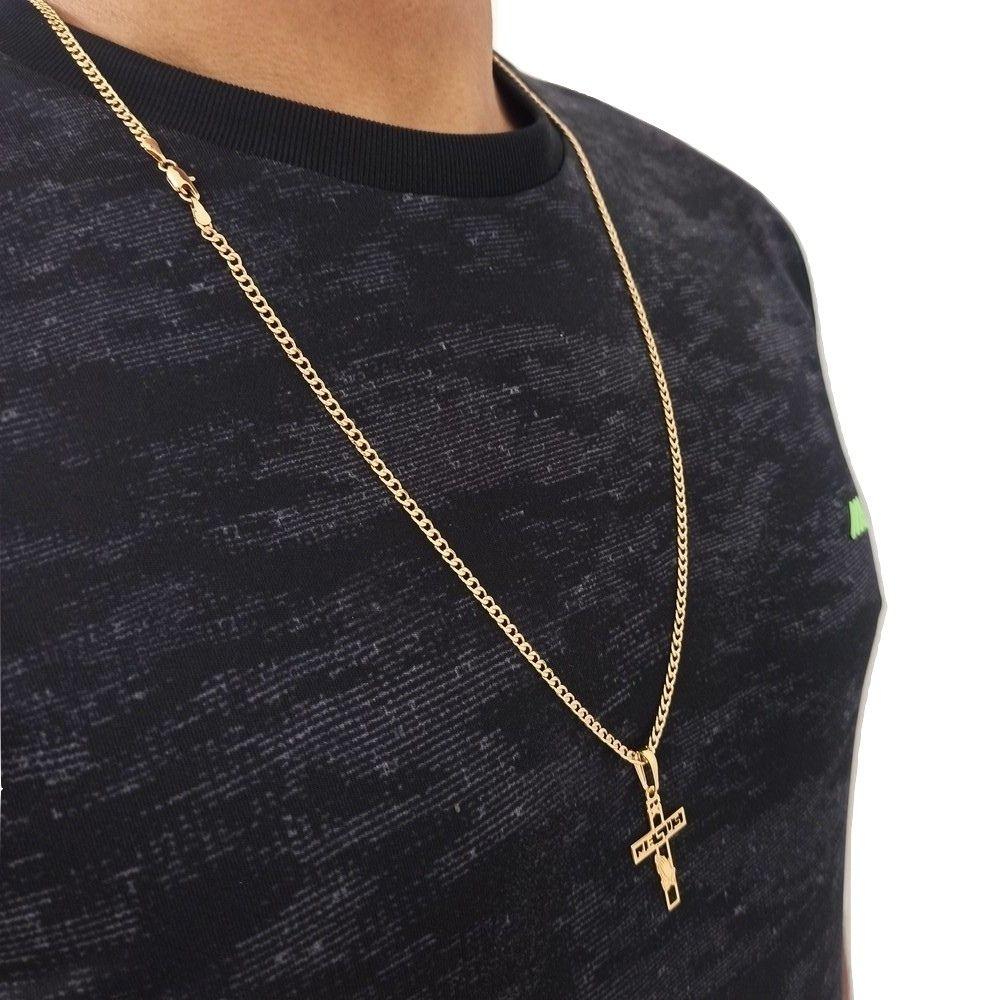 Cordão Com Crucifixo Banhado A Ouro 18k 60 cm Rellicari