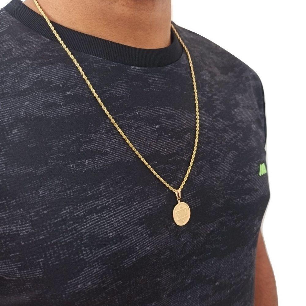 Cordao com Estrela de Davi Banhado A Ouro 18k Rellicari