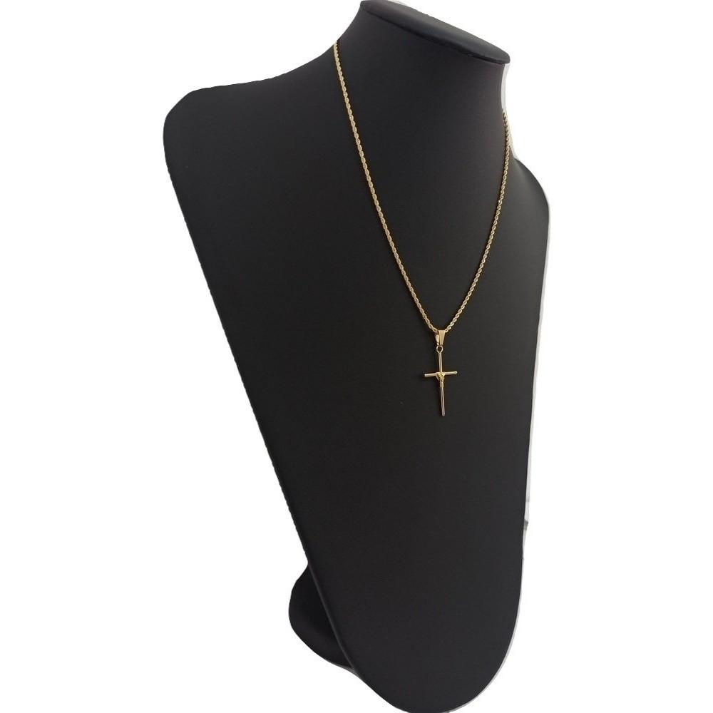 Cordão Com Pingente de Cruz 50 Cm Banhado A Ouro - Rellicari