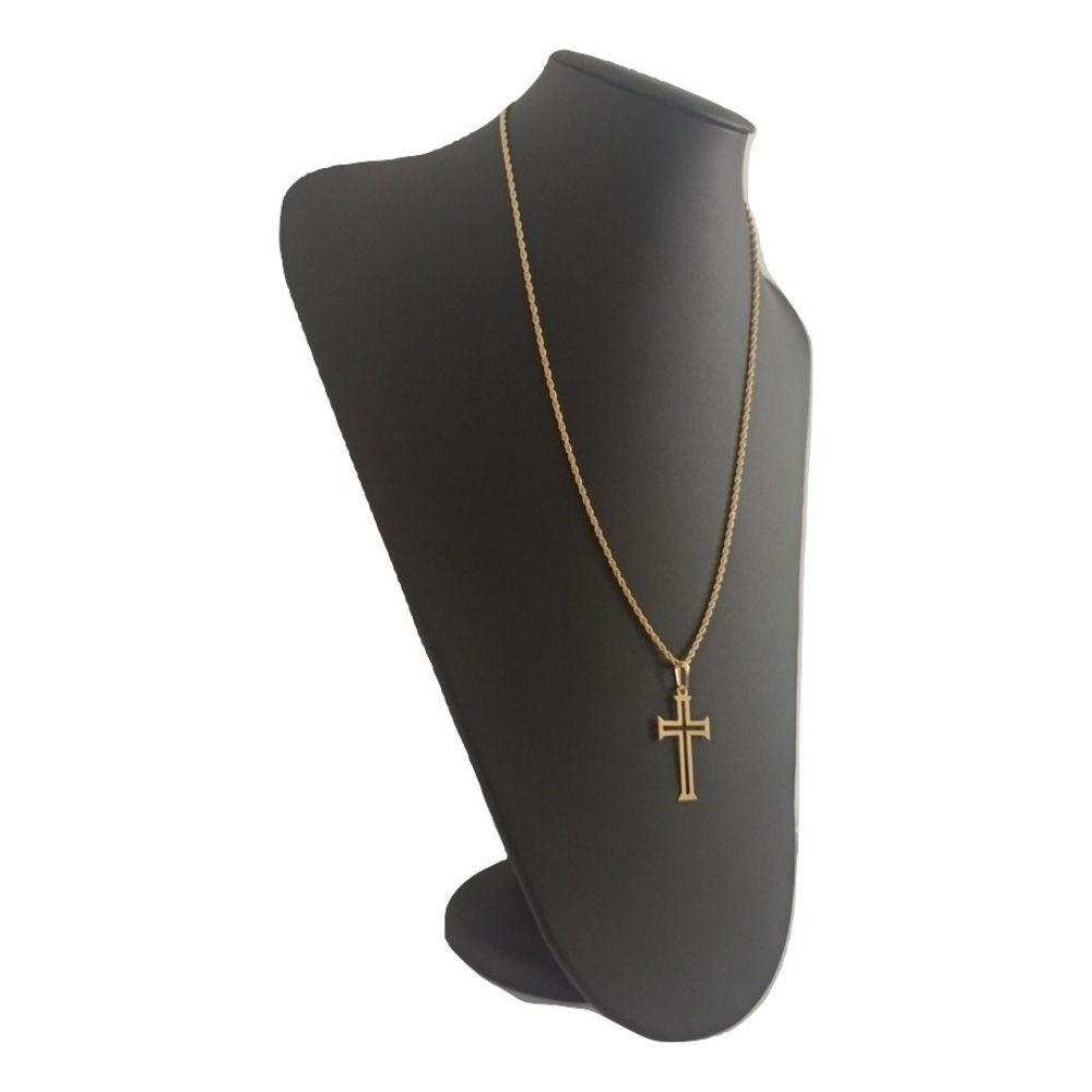 Cordão Crucifixo Banhado A Ouro 18k 50 Cm - Rellicari