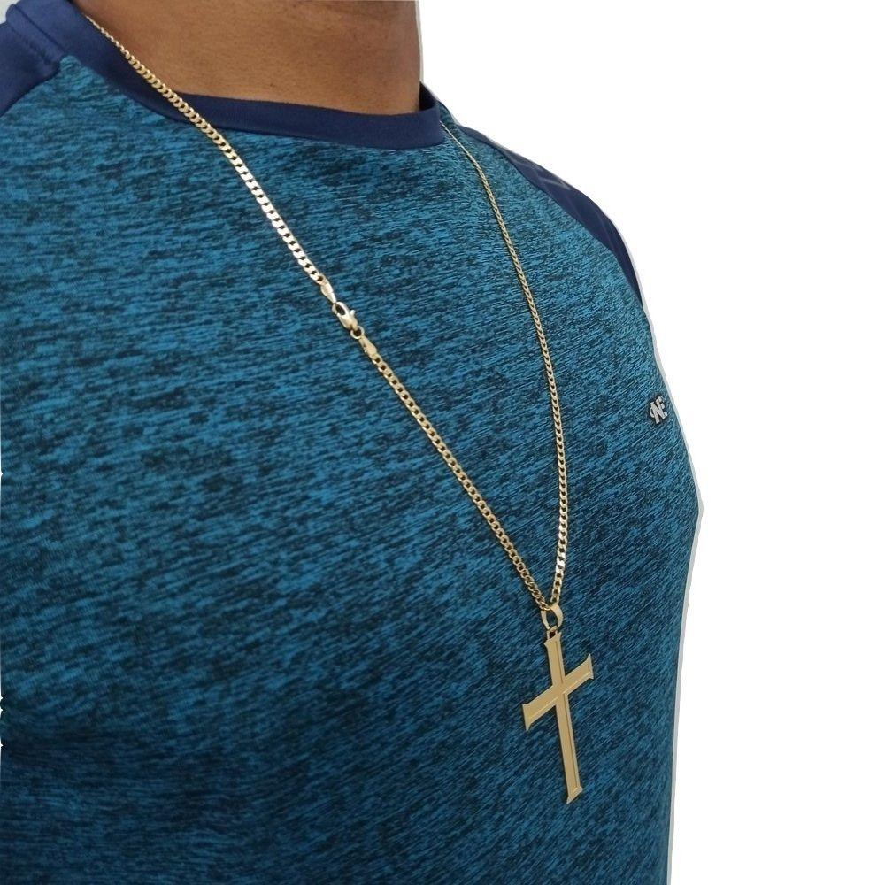 Cordão Crucifixo Rellicari Banhado A Ouro 18k 60Cm