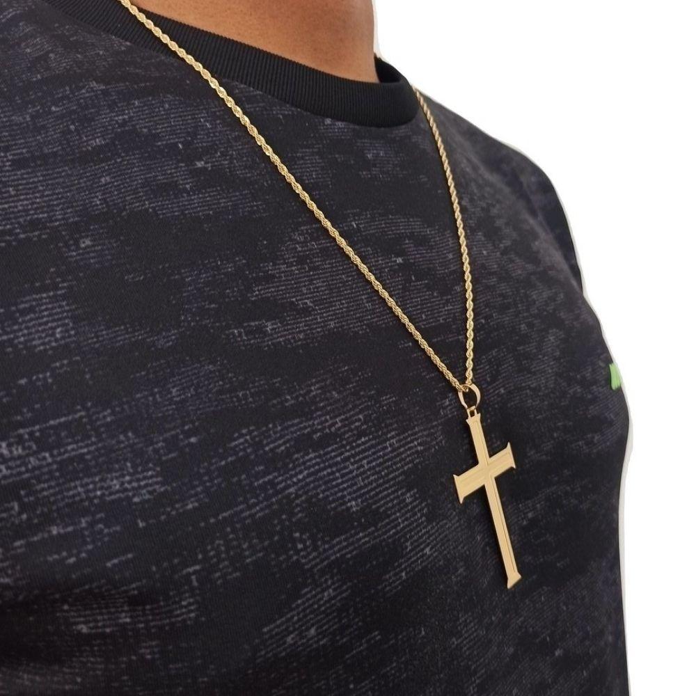 Cordão de Cruz Masculino 60Cm 2,5mm Banhado A Ouro Rellicari