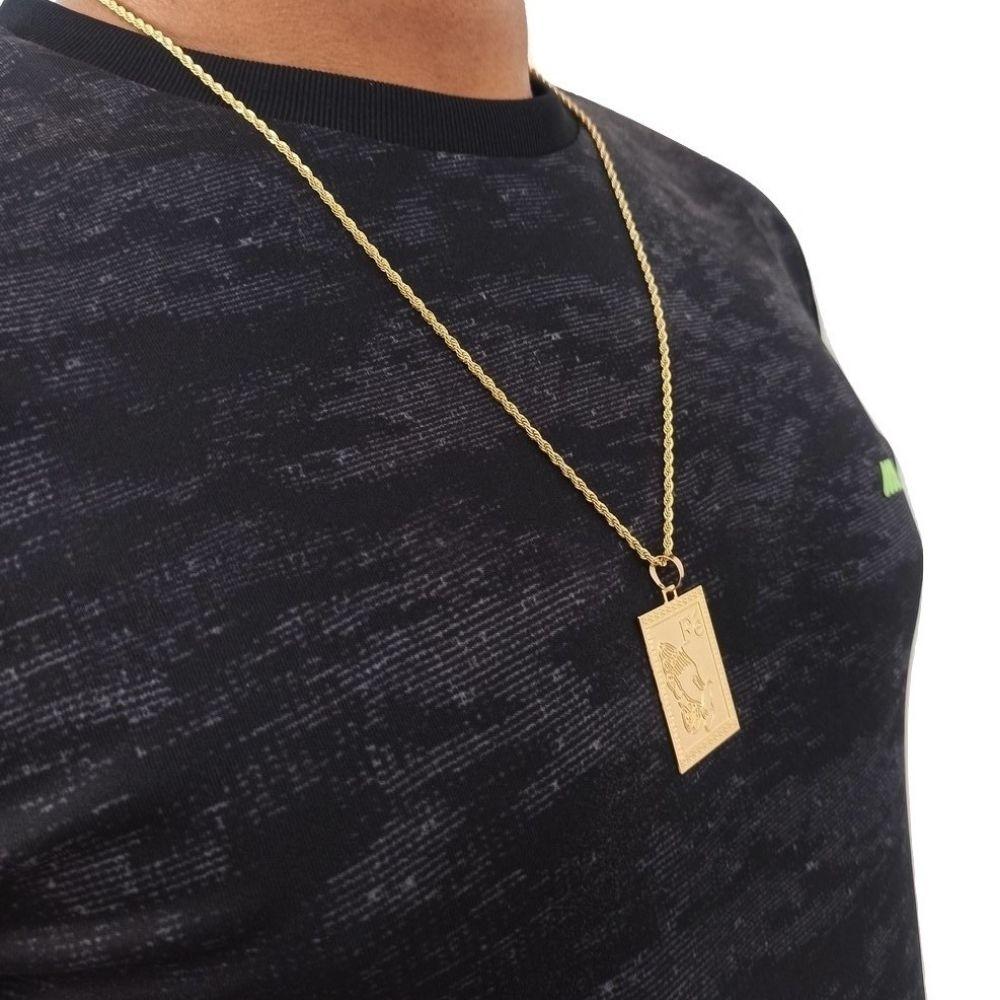 Cordão Masculino Banhado a Ouro 60 cm e Pingente - Rellicari