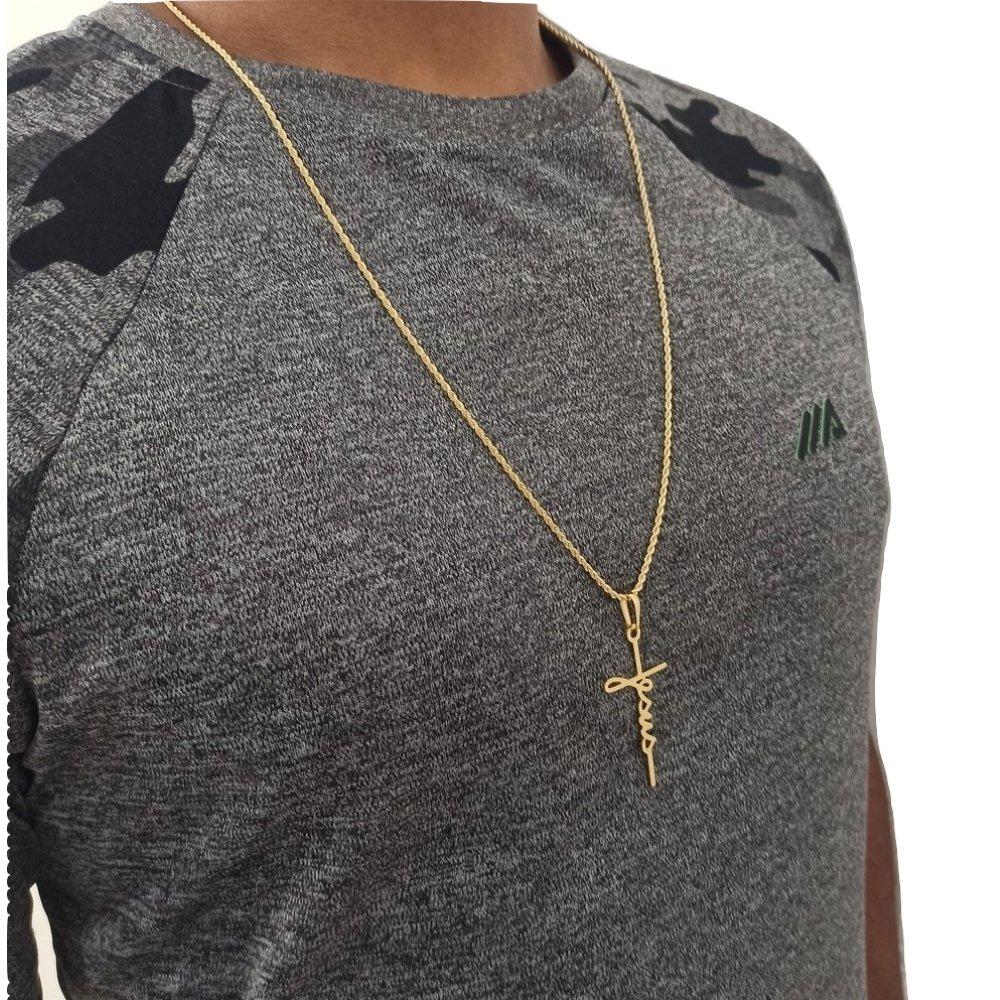 Cordão masculino Com Pingente Crucifixo 60Cm - Rellicari