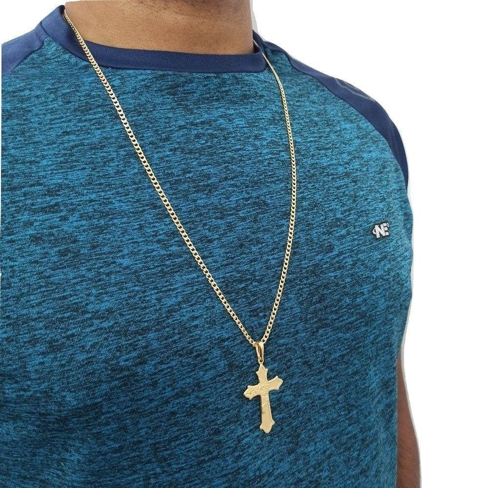 Cordão Masculino Com Pingente Cruz Rosto de Cristo 70Cm