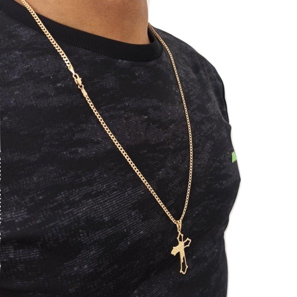 Cordao Masculino Com Pingente Rosto de Cristo Banhado A Ouro