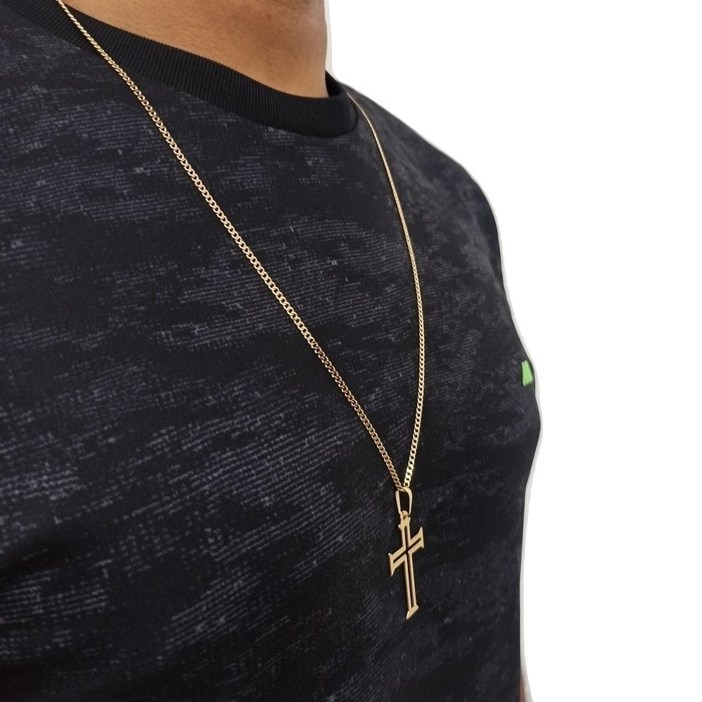 Cordao Rellicari Masculino 70cm e Pingente Crucifixo Banhado