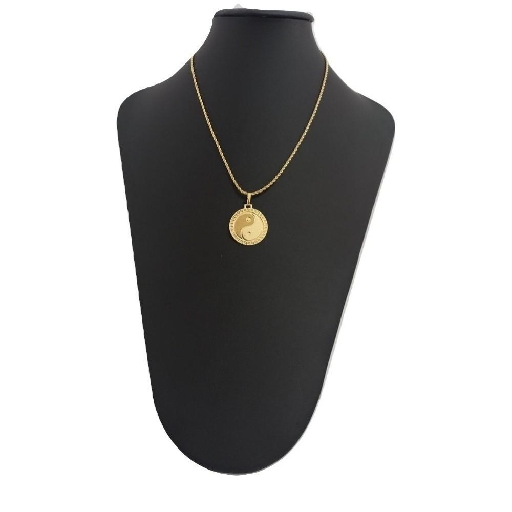 Corrente 50 Cm e Pingente Yin yang Banhado A Ouro Rellicari