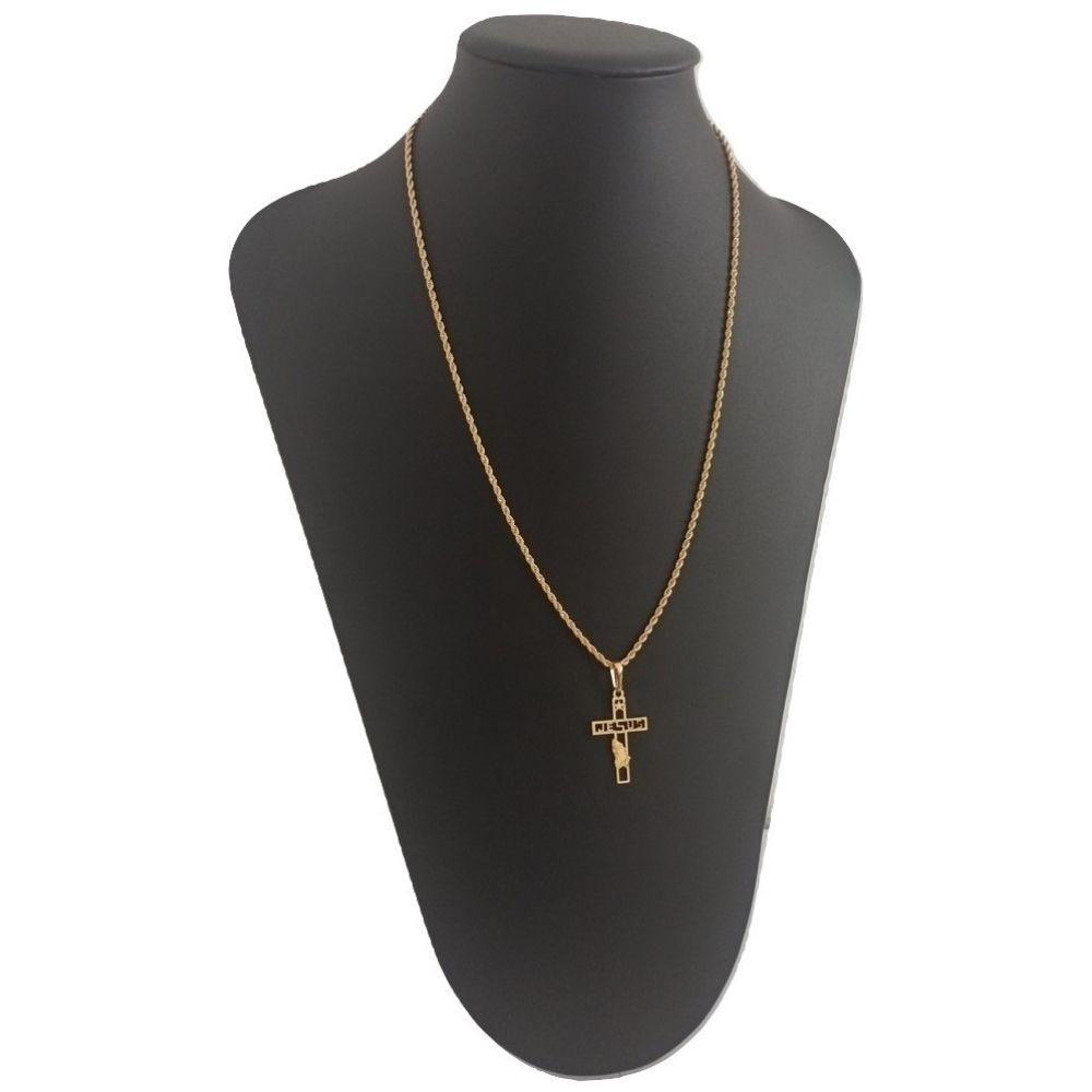 Corrente Banhada a ouro com Crucifixo Jesus - Rellicari