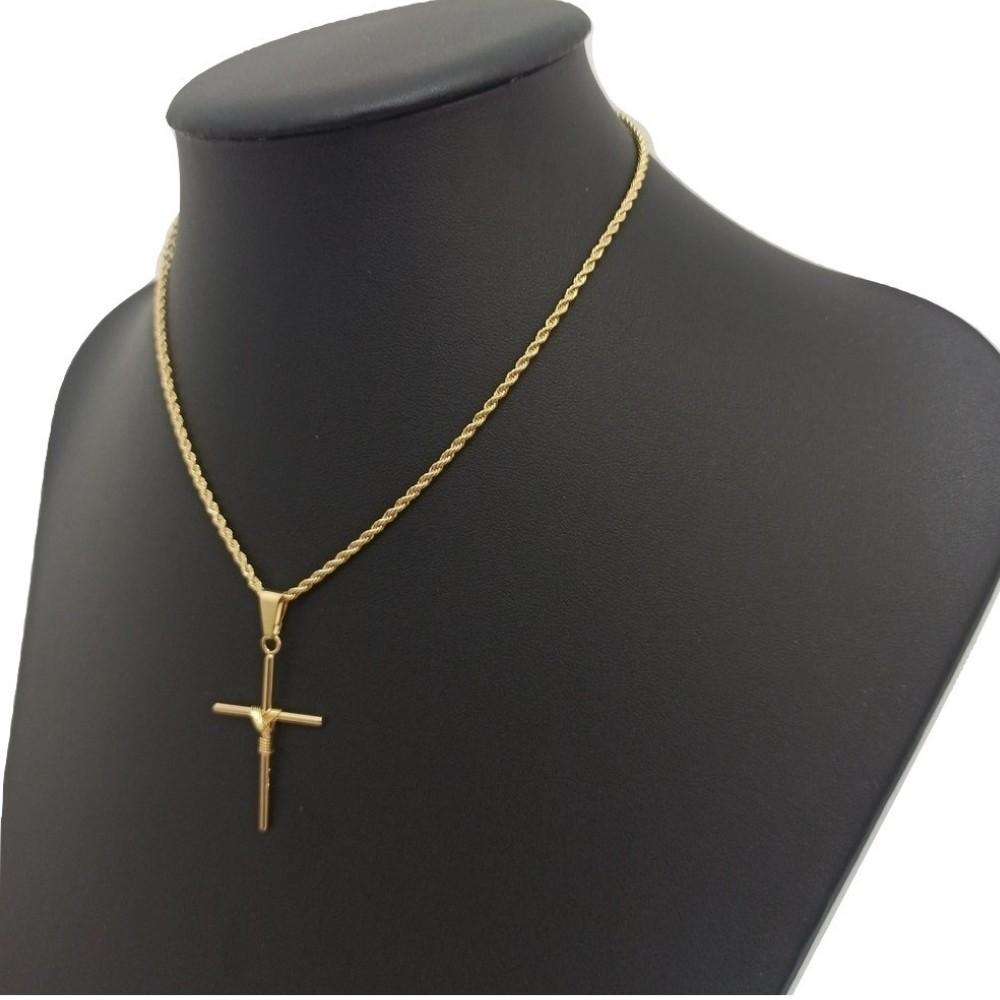 Colar Correntinha Corrente baiana Banhado a Ouro Feminina Com Pingente Cruz crucifixo folheado em ouro amarelo 18k Rellicari