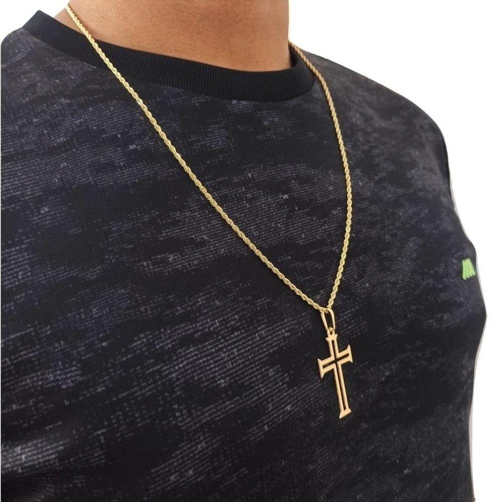 Corrente com Crucifixo Masculino 60cm Banhado Ouro Rellicari
