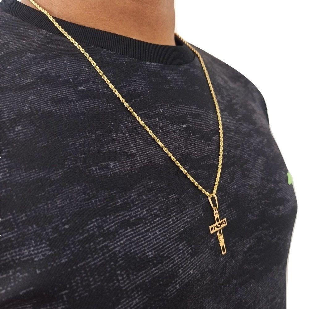 Corrente Com Crucifixo Masculino Banhado a Ouro 18 Rellicari