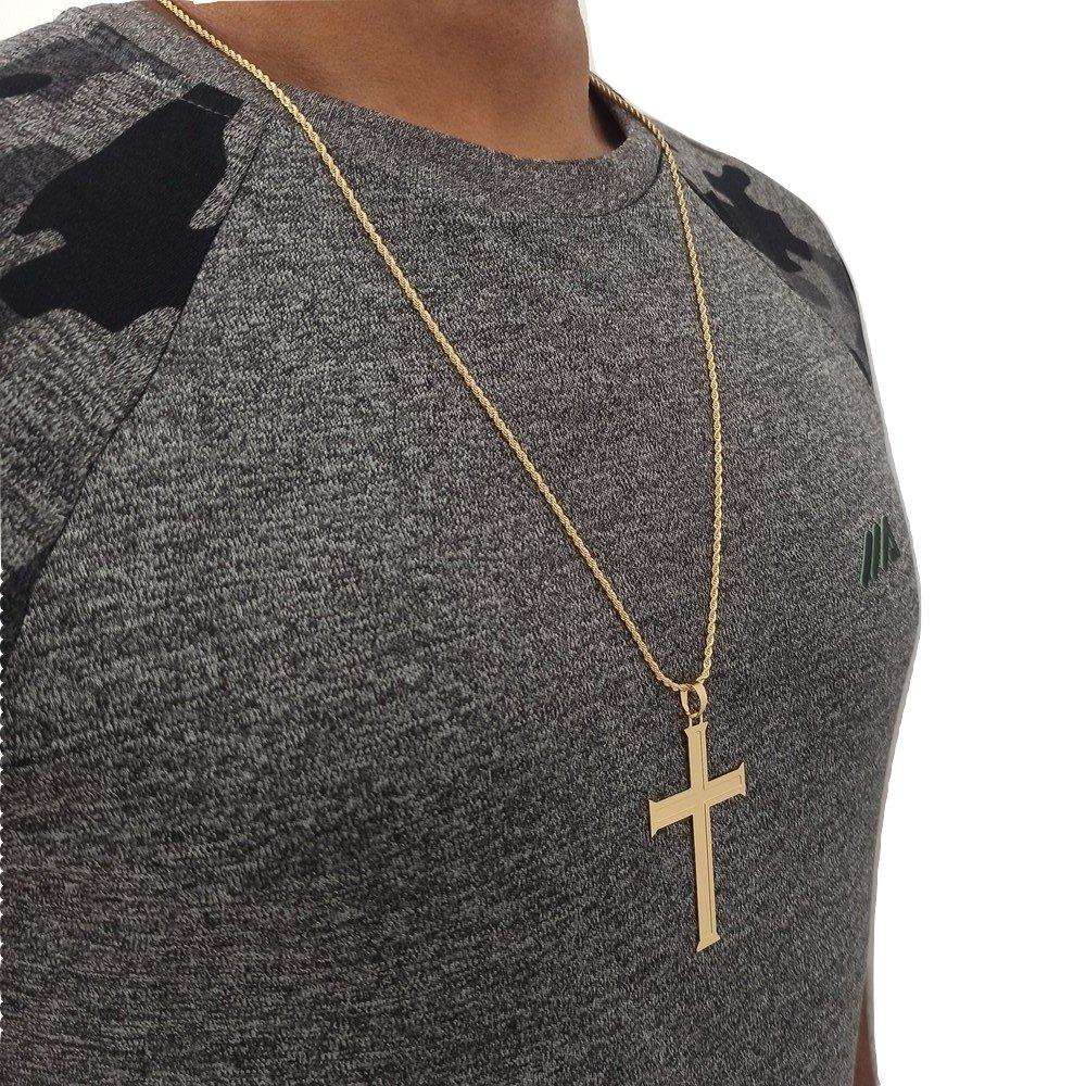 Corrente Com Crucifixo Masculino Banhado a Ouro Rellicari