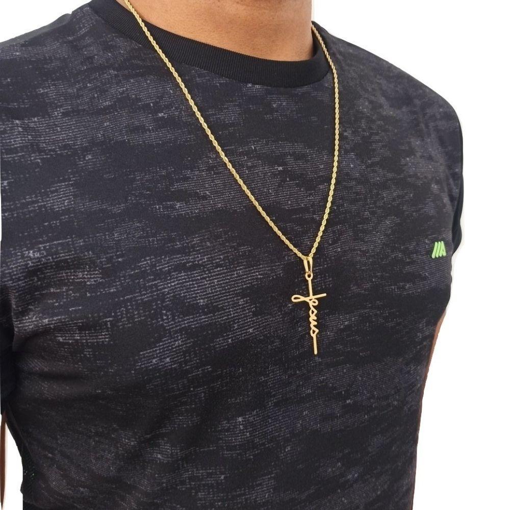 Corrente com Pingente Crucifixo Banhado A Ouro Rellicari